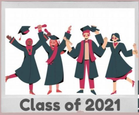 This illustration shows four students in graduation caps and gowns celebrating. Underneath them is the text Class of 2021.